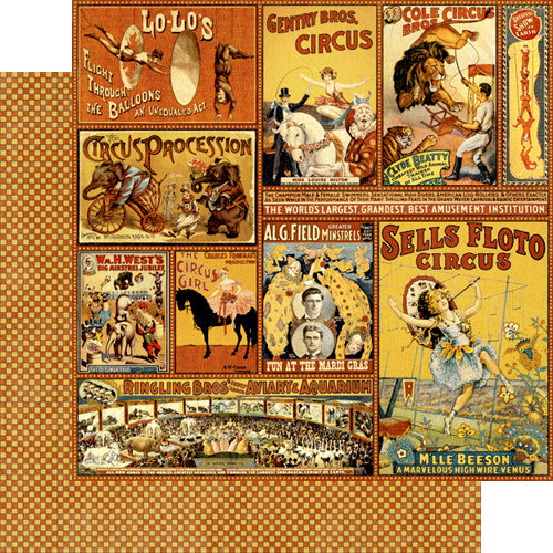 Graphic 45 - Le Cirque Collection - 12 x 12 Double Sided Paper - Greatest Show on Earth