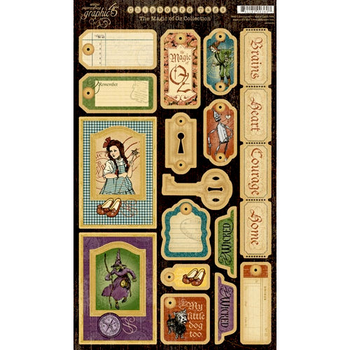 Graphic 45 - The Magic of Oz Collection - Die Cut Chipboard Pieces - Magic Tags Two