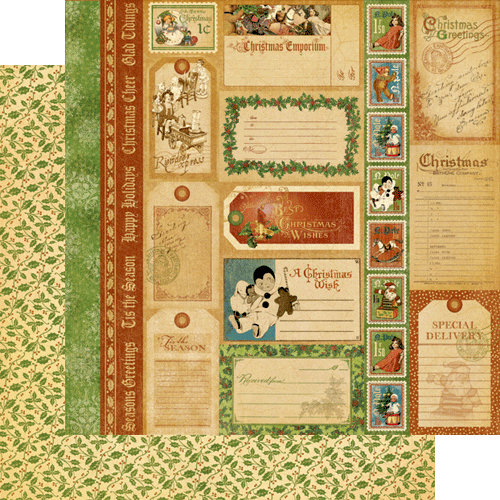 Graphic 45 - Christmas Emporium Collection - 12 x 12 Double Sided Paper - Special Delivery