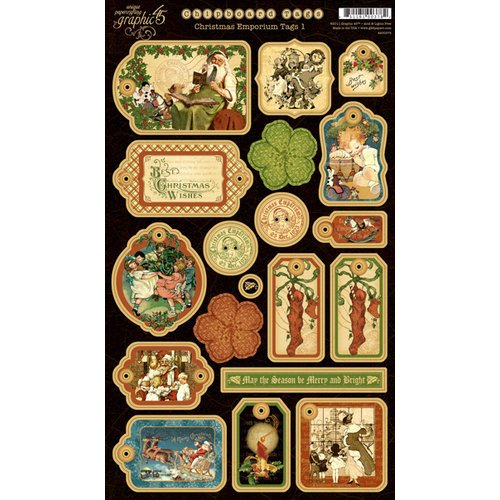 Graphic 45 - Christmas Emporium Collection - Die Cut Chipboard Pieces - Tags One
