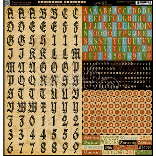 Graphic 45 - Olde Curiosity Shoppe Collection - 12 x 12 Cardstock Stickers - Alphabet