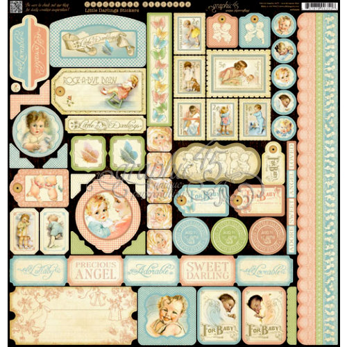 Graphic 45 - Little Darlings Collection - 12 x 12 Cardstock Stickers