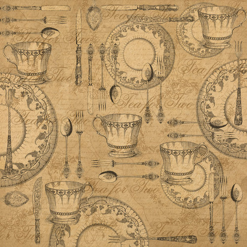 Graphic 45 - Kraft Reflections Collection - 12 x 12 Kraft Paper - Tea for Two