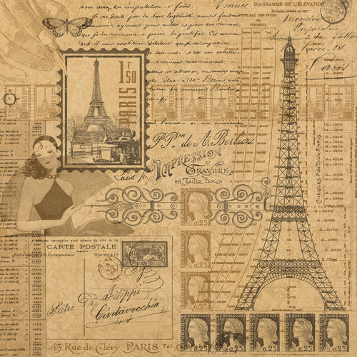 Graphic 45 - Kraft Reflections Collection - 12 x 12 Kraft Paper - Glimpse of Paris