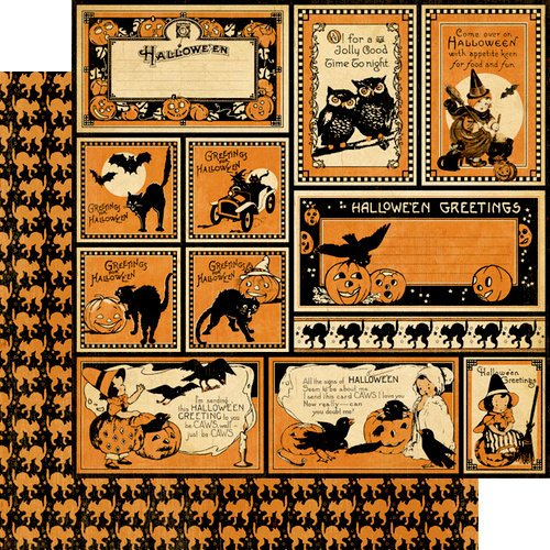 Graphic 45 - Happy Haunting Collection - Halloween - 12 x 12 Double Sided Paper - Hallowe'en Greetings