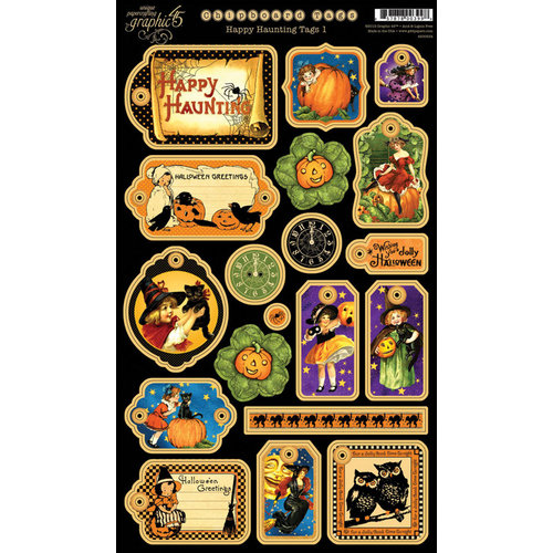 Graphic 45 - Happy Haunting Collection - Halloween - Die Cut Chipboard Tags - One