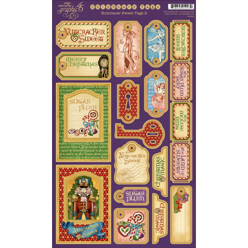 Graphic 45 - Nutcracker Sweet Collection - Christmas - Die Cut Chipboard Tags - Two