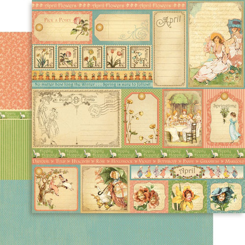 Graphic 45 - Place in Time Collection - 12 x 12 Double Sided Paper - April Cut-Aparts