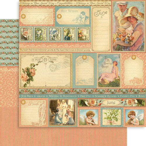 Graphic 45 - Place in Time Collection - 12 x 12 Double Sided Paper - June Cut-Aparts