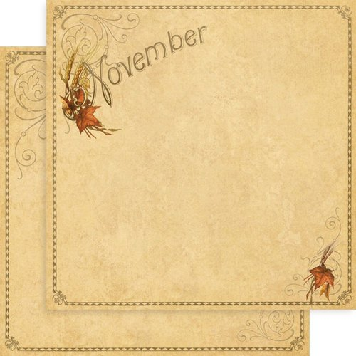 Graphic 45 - Place in Time Collection - 12 x 12 Double Sided Paper - November Foundation