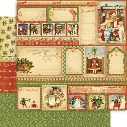 Graphic 45 - Place in Time Collection - 12 x 12 Double Sided Paper - December Cut-Aparts