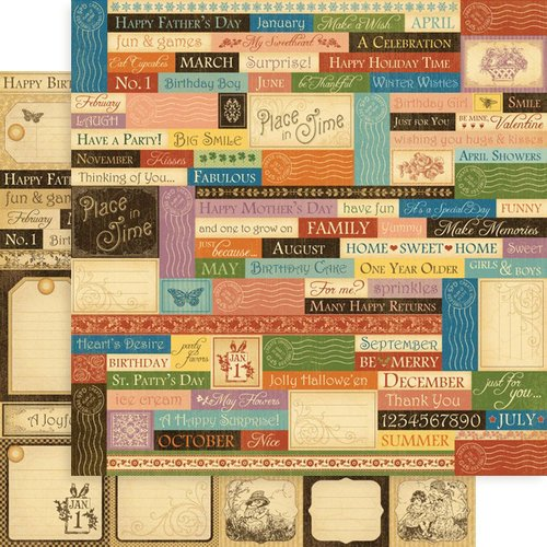 Graphic 45 - Place in Time Collection - 12 x 12 Double Sided Paper - Sentiments