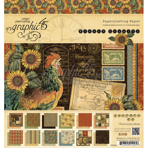 Graphic 45 - French Country Collection - 8 x 8 Paper Pad