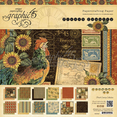 Graphic 45 - French Country Collection - 12 x 12 Paper Pad