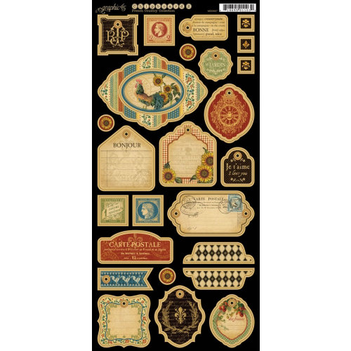 Graphic 45 - French Country Collection - Die Cut Chipboard Tags - Two