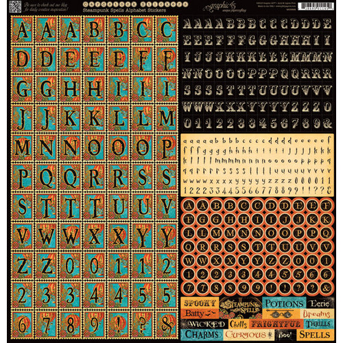 Graphic 45 - Steampunk Spells Collection - 12 x 12 Cardstock Stickers - Alphabet