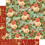 Graphic 45 - Twelve Days of Christmas Collection - 12 x 12 Double Sided Paper - Christmas Rose