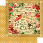 Graphic 45 - Twelve Days of Christmas Collection - 12 x 12 Double Sided Paper - Golden Rings