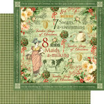 Graphic 45 - Twelve Days of Christmas Collection - 12 x 12 Double Sided Paper - Swans a Swimming