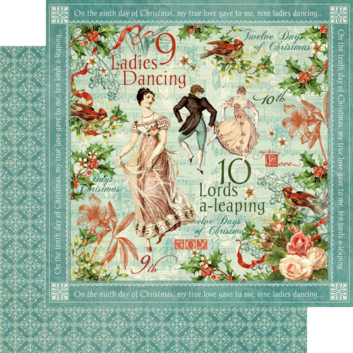 Graphic 45 - Twelve Days of Christmas Collection - 12 x 12 Double Sided Paper - Ladies Dancing
