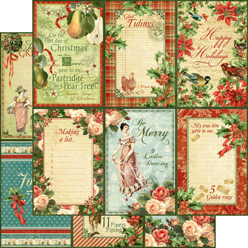 Graphic 45 - Twelve Days of Christmas Collection - 12 x 12 Double Sided Paper - Holly and Ivy