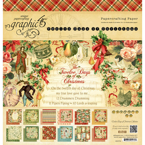 Graphic 45 - Twelve Days of Christmas Collection - 12 x 12 Paper Pad