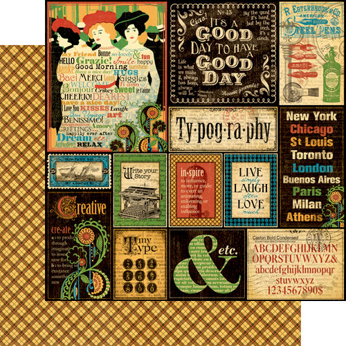 Graphic 45 - Typography Collection - 12 x 12 Double Sided Paper - Typography