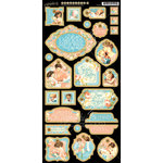 Graphic 45 - Precious Memories Collection - Die Cut Chipboard Tags - One