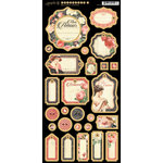 Graphic 45 - Mon Amour Collection - Die Cut Chipboard Tags - Two