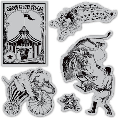 Graphic 45 - Hampton Art - Le Cirque Collection - Cling Mounted Rubber Stamps - Three