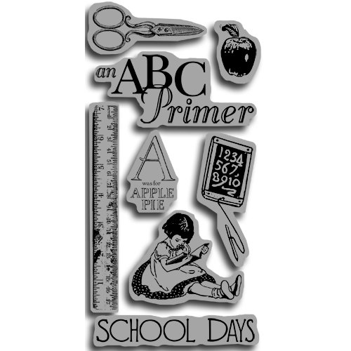 Graphic 45 - Hampton Art - An ABC Primer Collection - Cling Mounted Rubber Stamps - ABC Primer One