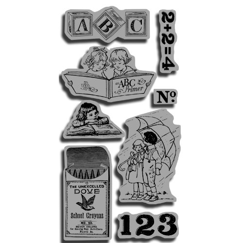 Graphic 45 - Hampton Art - An ABC Primer Collection - Cling Mounted Rubber Stamps - ABC Primer Two