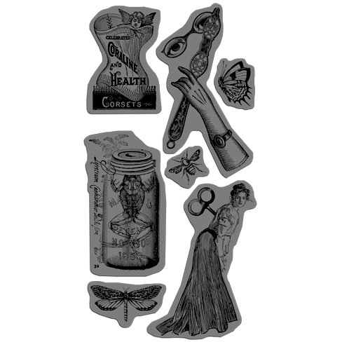 Graphic 45 - Hampton Art - Olde Curiosity Shoppe Collection - Cling Mounted Rubber Stamps - Olde Curiosity Shoppe Three