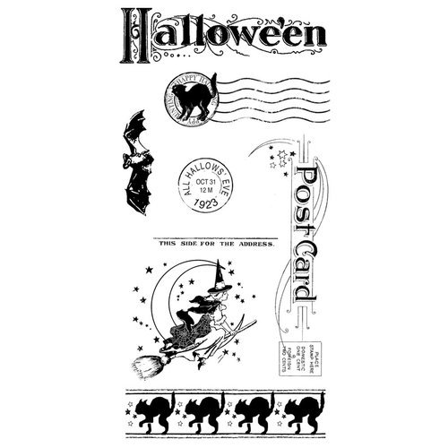 Graphic 45 - Hampton Art - Happy Haunting Collection - Halloween - Cling Mounted Rubber Stamps - Happy Haunting Three