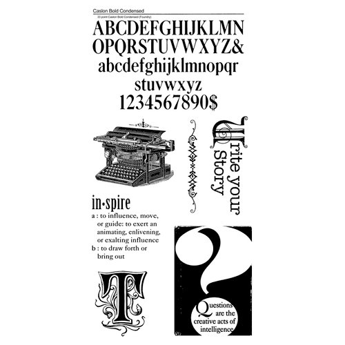 Graphic 45 - Hampton Art - Typography Collection - Cling Mounted Rubber Stamp Three