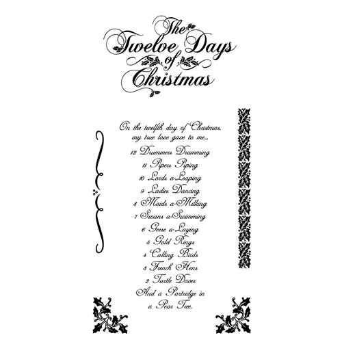 Graphic 45 - Hampton Art - Twelve Days of Christmas Collection - Cling Mounted Rubber Stamp One