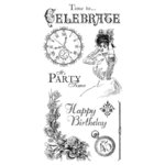 Graphic 45 - Hampton Art - Time to Celebrate Collection - Cling Mounted Rubber Stamps - One