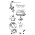 Graphic 45 - Hampton Art - Time to Celebrate Collection - Cling Mounted Rubber Stamps - Two