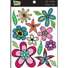 Glitz Design - Eye Candy Collection - Chipboard Stickers with Rhinestones - Eye Candy Flowers