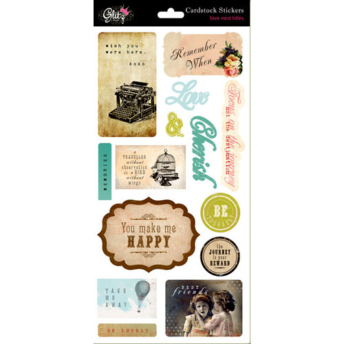 Glitz Design - Love Nest Collection - Cardstock Stickers - Titles, CLEARANCE