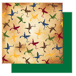 Glitz Designs - Camelot Collection - 12x12 Double Sided Paper - Camelot Dragons, CLEARANCE