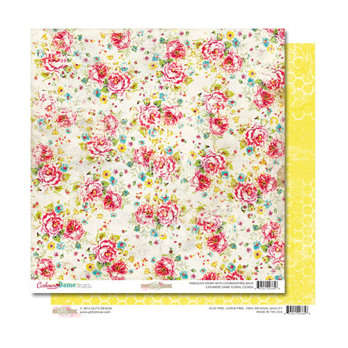 Glitz Design - Cashmere Dame Collection - 12 x 12 Double Sided Paper - Floral