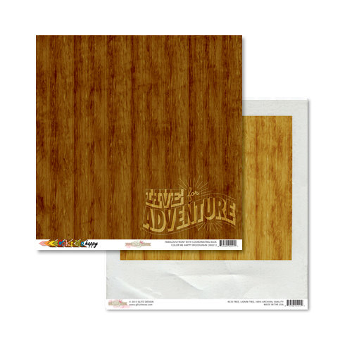 Glitz Design - Color Me Happy Collection - 12 x 12 Double Sided Paper - Woodgrain
