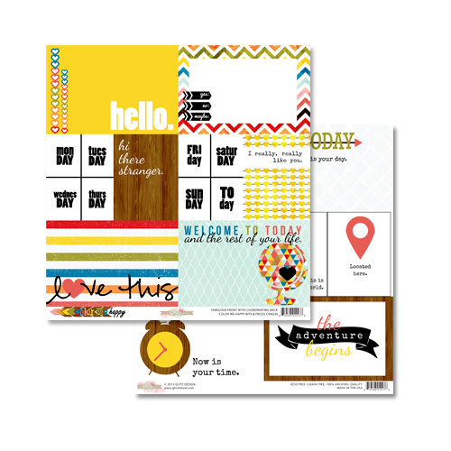 Glitz Design - Color Me Happy Collection - 12 x 12 Double Sided Paper - Bits and Pieces