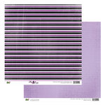 Glitz Design - Plum Crazy Collection - 12 x 12 Double Sided Paper - Plum Crazy Stripe, BRAND NEW