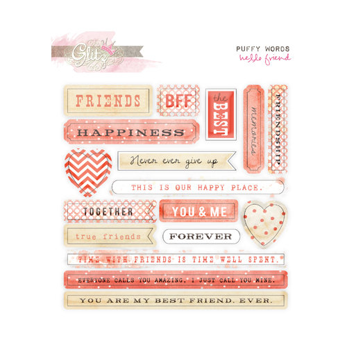 Glitz Design - Hello Friend Collection - Puffy Stickers - Words