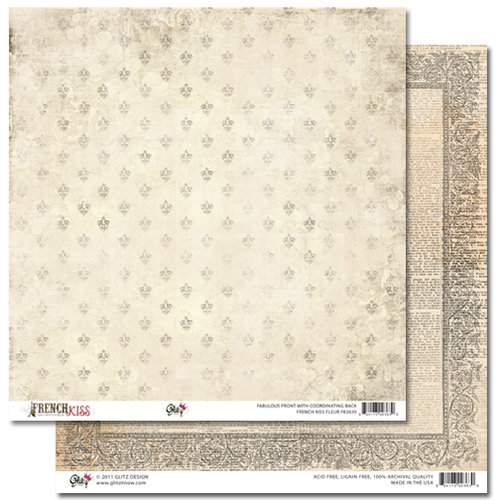 Glitz Design - French Kiss Collection - 12 x 12 Double Sided Paper - Fleur
