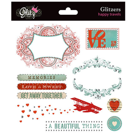 Glitz Design - Happy Travels Collection - Glitzers - Transparent Stickers with Jewels