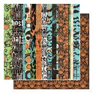 Glitz Design - Hallow Collection - 12x12 Double Sided Paper - Stripe, CLEARANCE