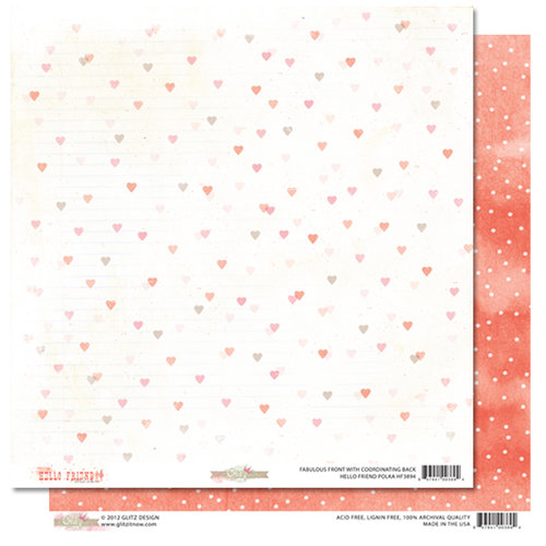 Glitz Design - Hello Friend Collection - 12 x 12 Double Sided Paper - Polka